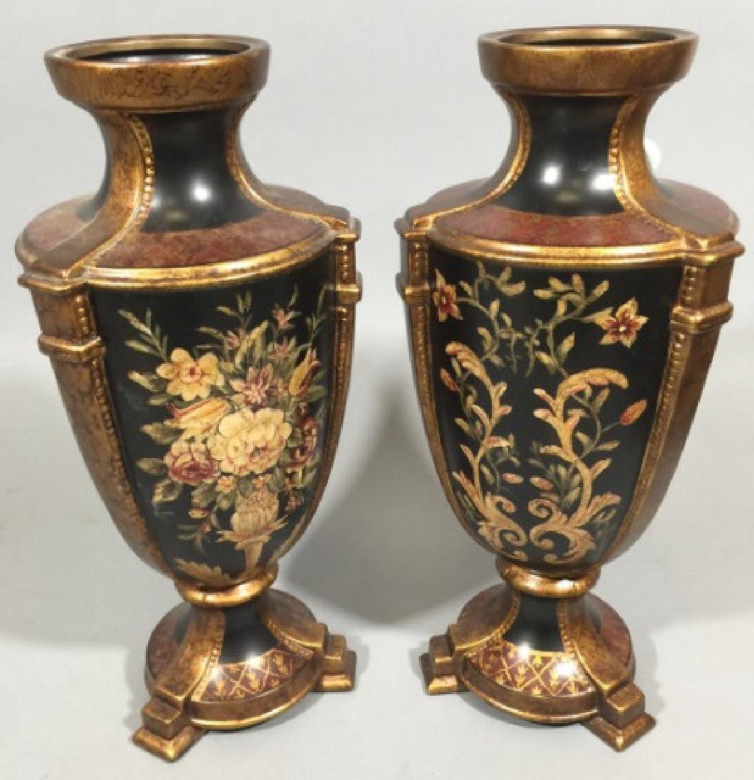 Pair Contemporary Italian Baroque Style Vases