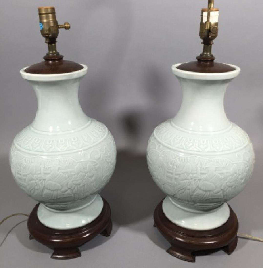 Pair Blanc de Chinese Porcelain Vase Mount Lamps