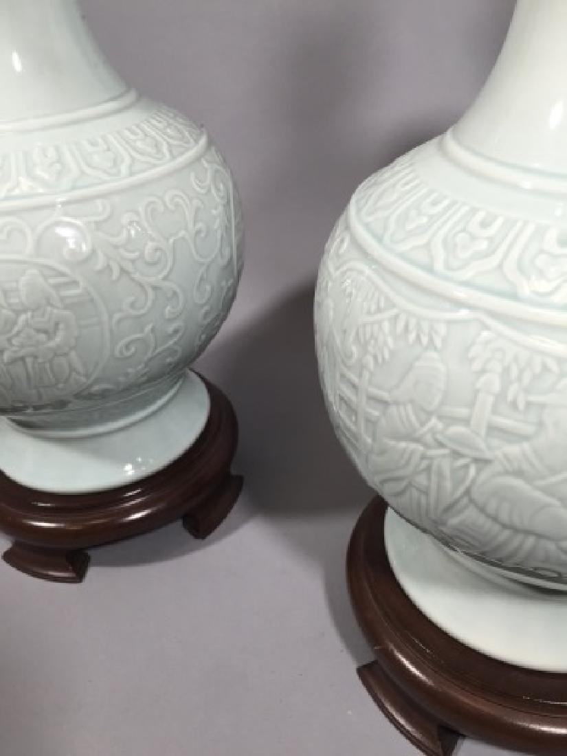 Pair Blanc de Chinese Porcelain Vase Mount Lamps - 2