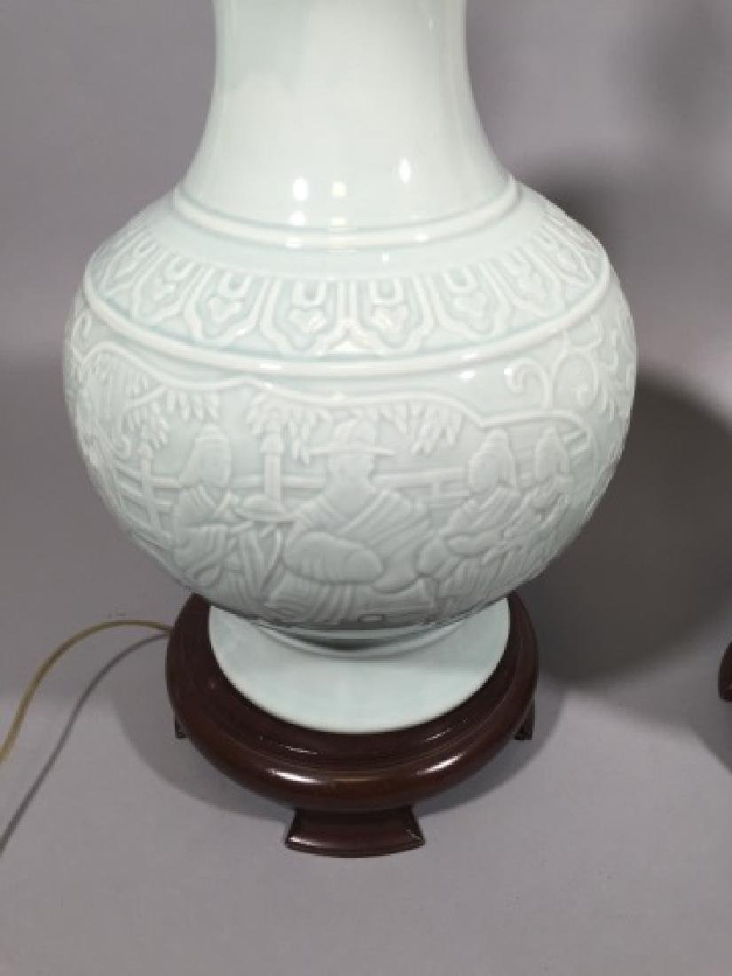 Pair Blanc de Chinese Porcelain Vase Mount Lamps - 3