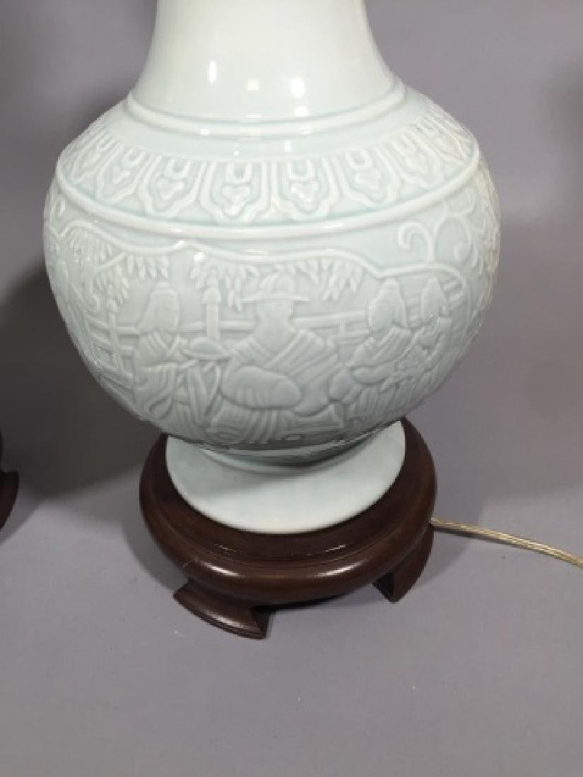 Pair Blanc de Chinese Porcelain Vase Mount Lamps - 4