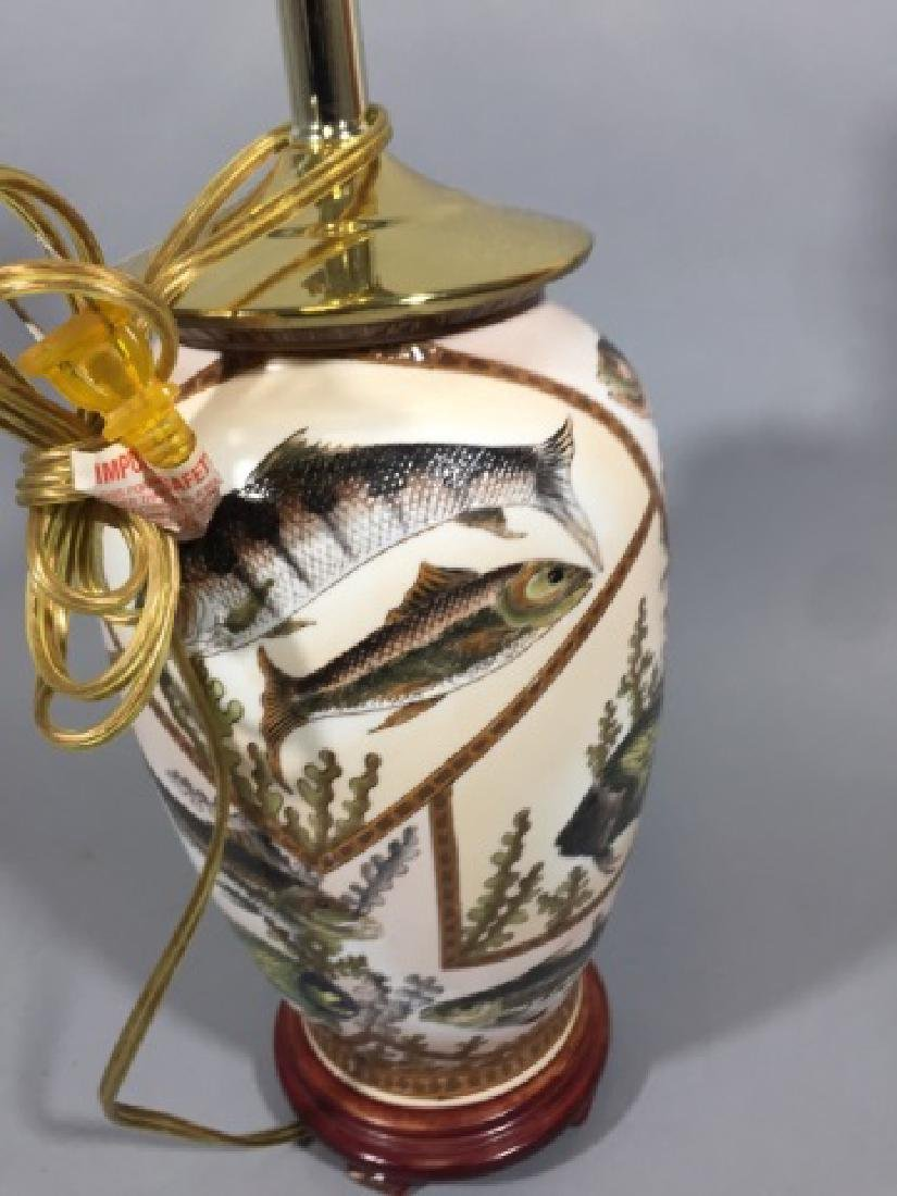 Porcelain Table Lamp w Fish Design Motif - 2