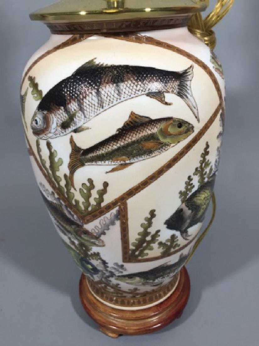 Porcelain Table Lamp w Fish Design Motif - 3