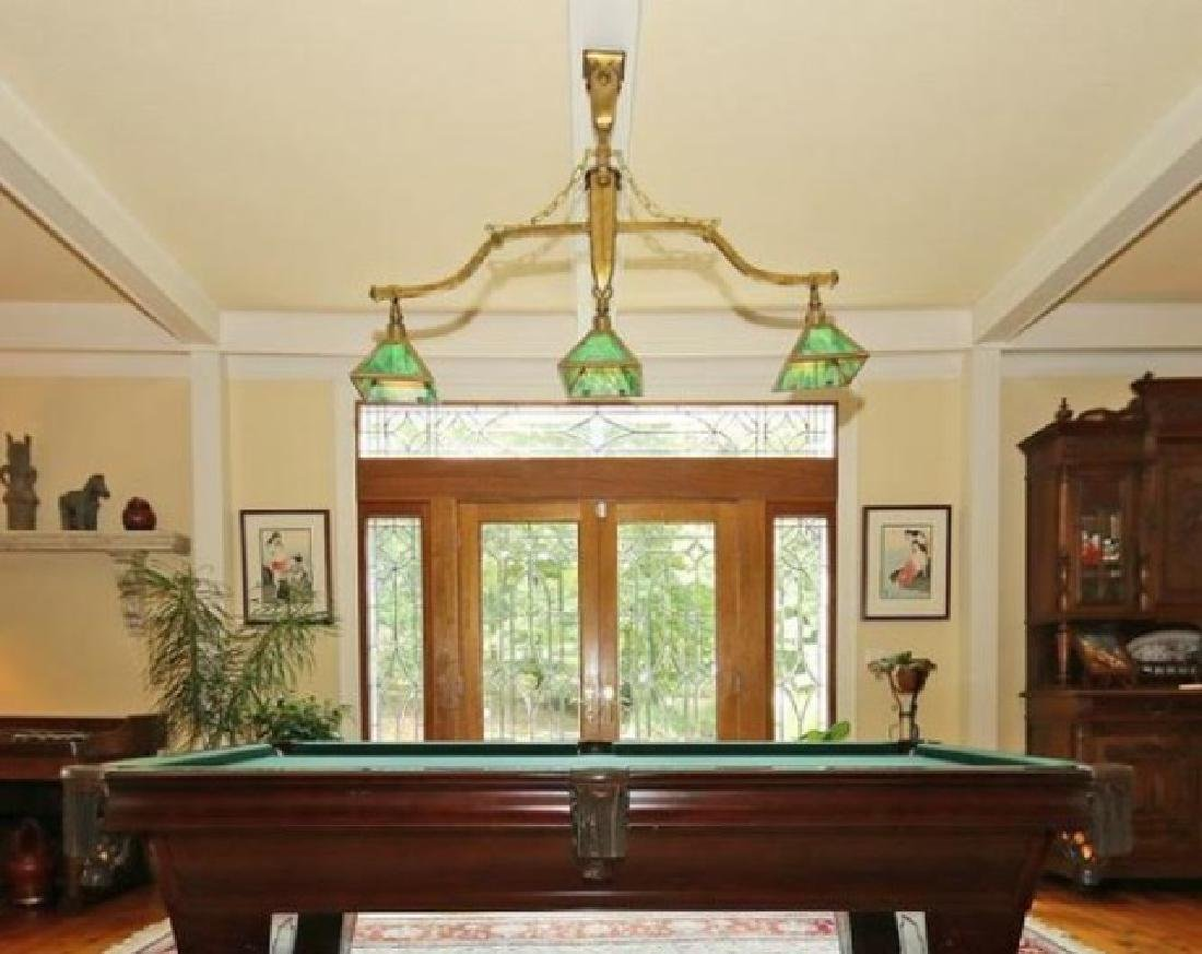 Antique Slag Glass Billiard Pool Table Chandelier