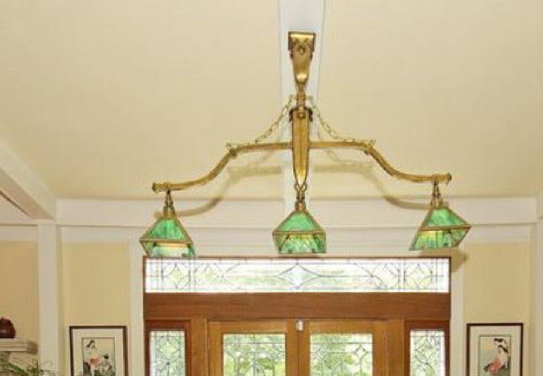Antique Slag Glass Billiard Pool Table Chandelier - 2