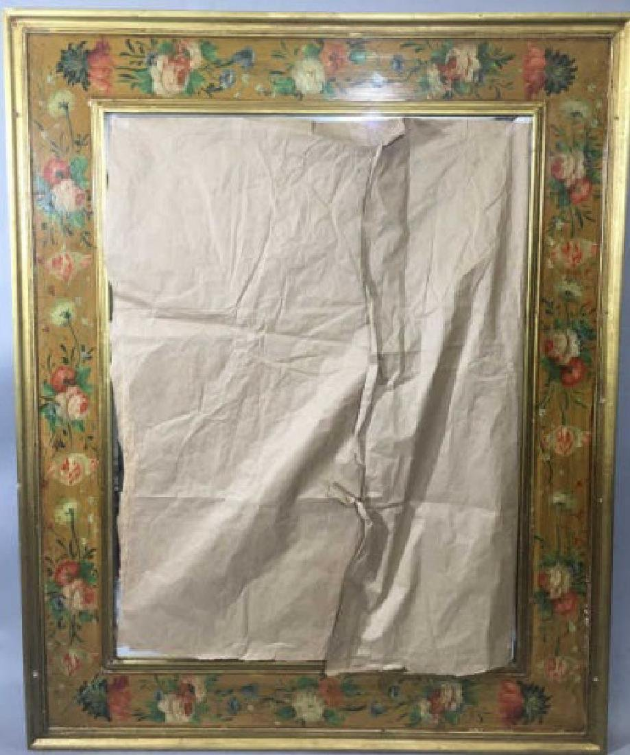 Large Mirror w Hand Painted & Carved Frame