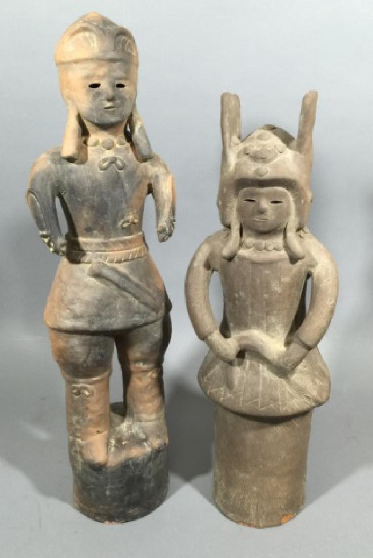 Two Chinese Haniwa Terracotta Funeral Statues
