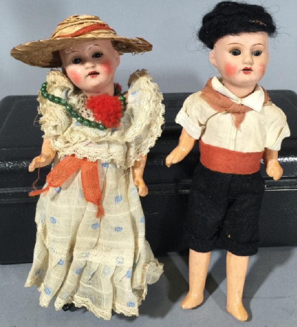 Two Antique German Dollhouse Size Dolls