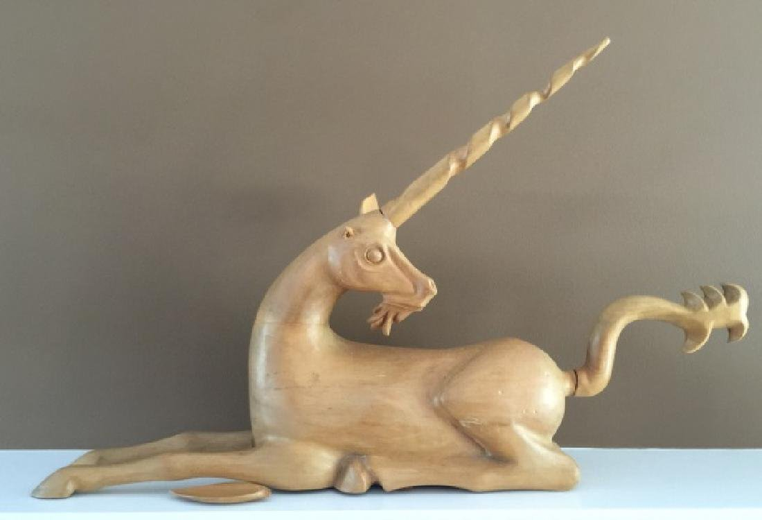 Hand Carved Wooden Statue of a Unicorn
