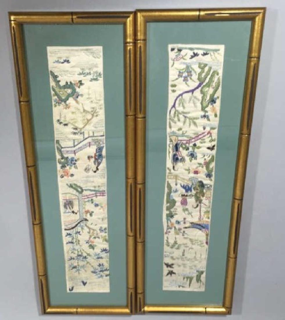 Pair of Framed Vintage Japanese Colorful Textiles