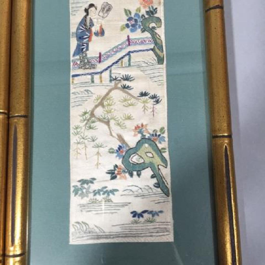 Pair of Framed Vintage Japanese Colorful Textiles - 2