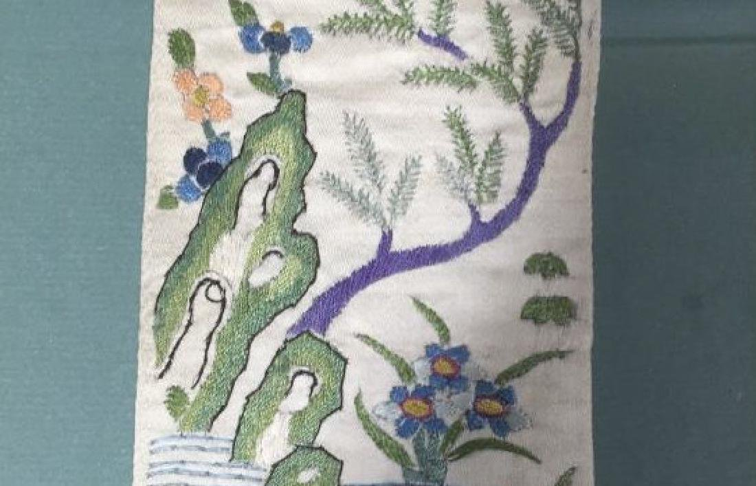 Pair of Framed Vintage Japanese Colorful Textiles - 5