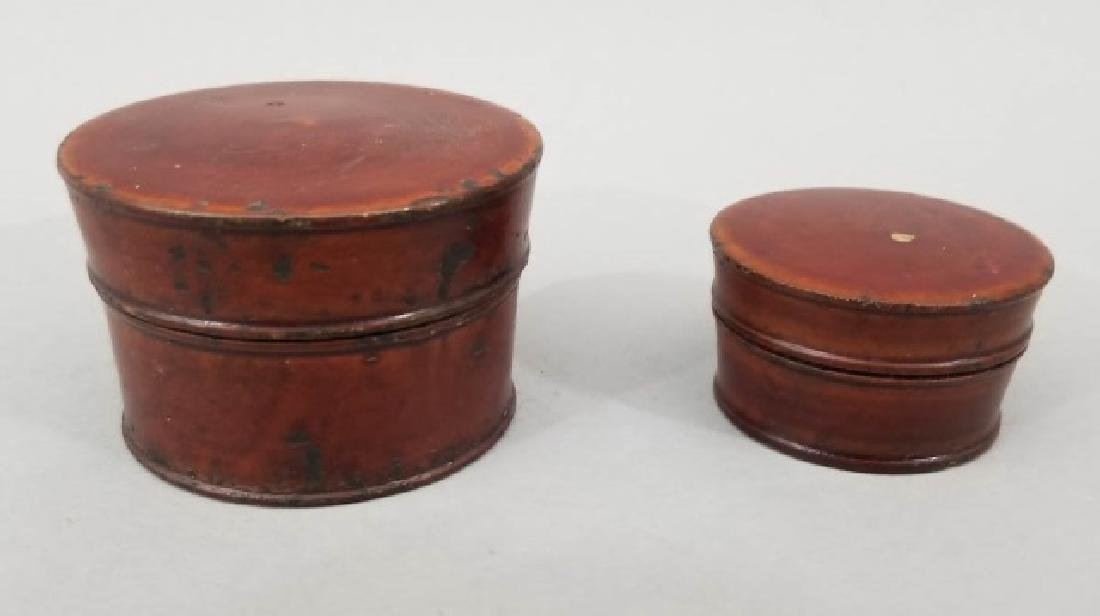 Two Antique Asian Lacquer Nesting Boxes w Flowers