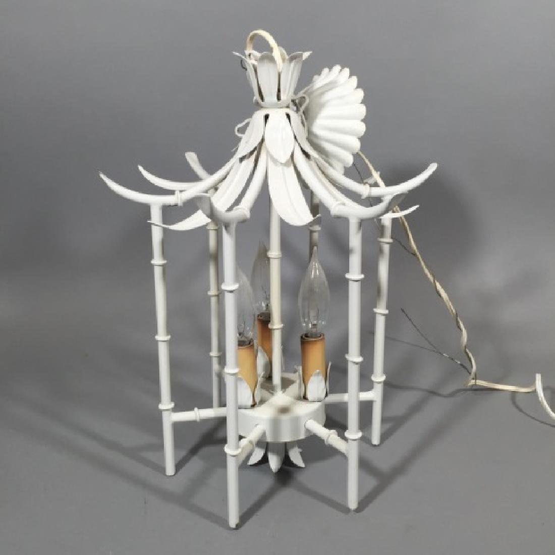 MCM White Bamboo Style 3-Light Chandelier