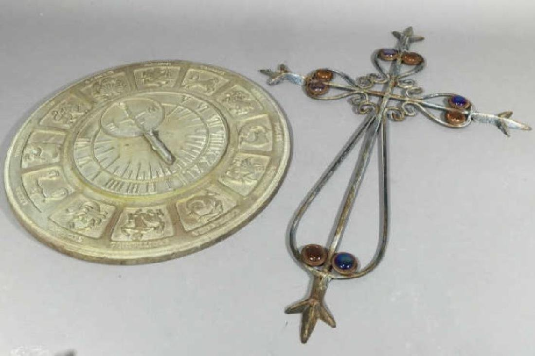 Metal Zodiac Sundial Disk & Ornamental Metal Cross