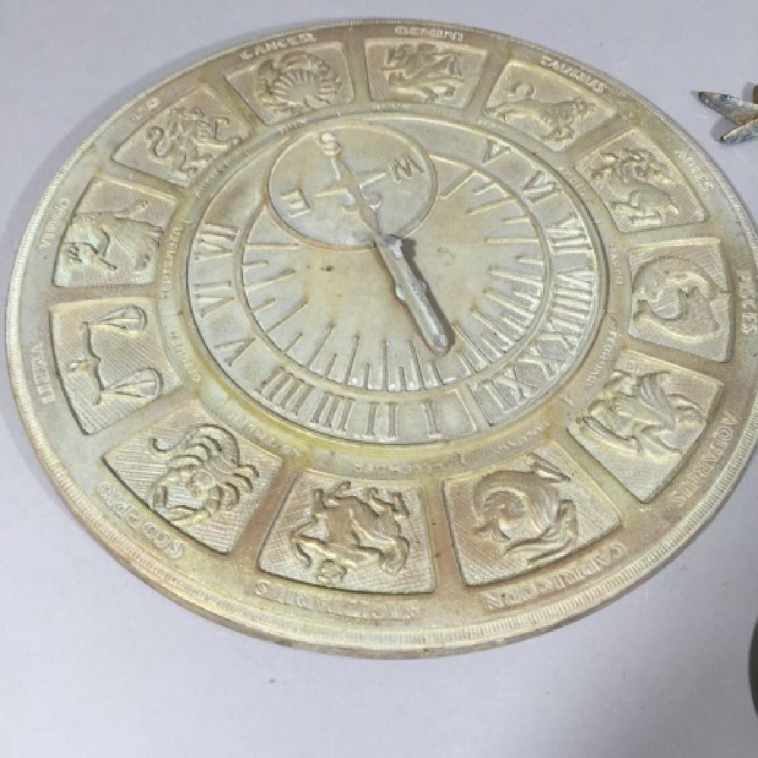 Metal Zodiac Sundial Disk & Ornamental Metal Cross - 3