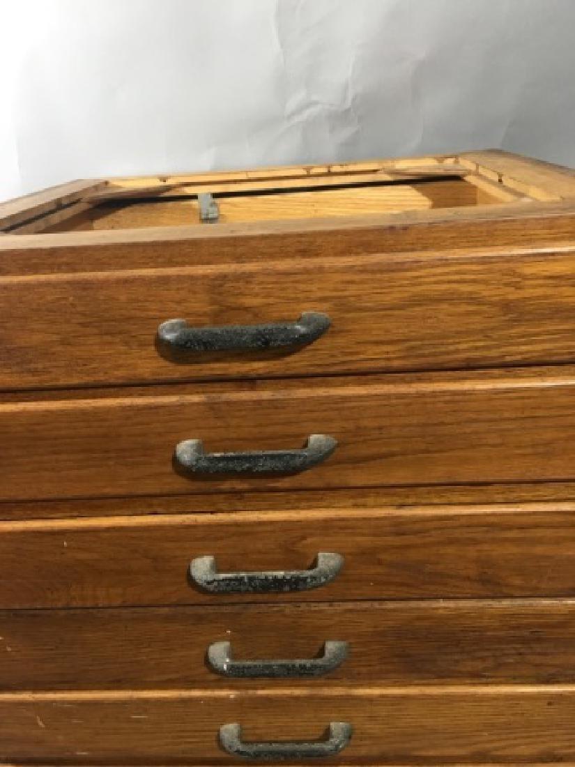8-Drawer Artistic Flat-File Oak Cabinet - 3