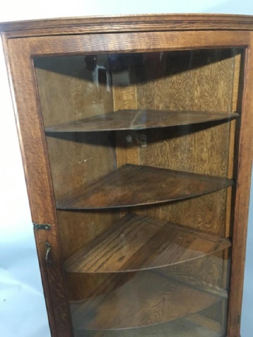 Corner Oak Cabinet with Curved Glass Door - 2