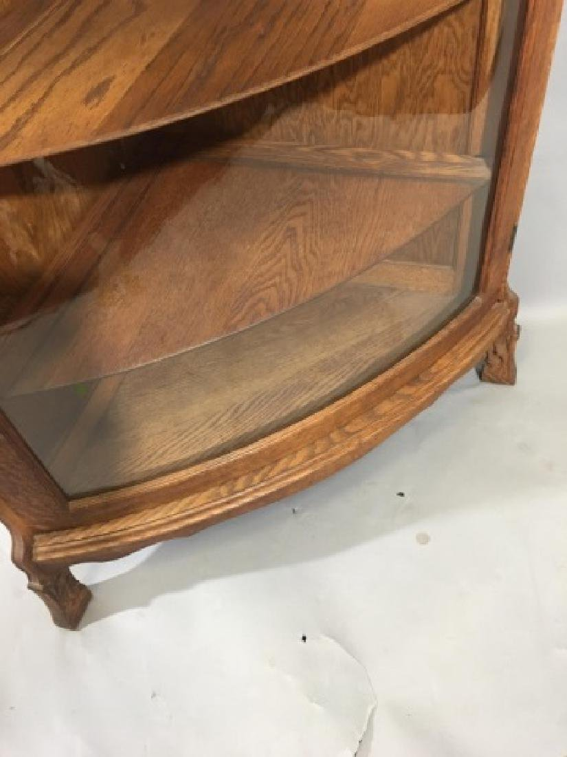 Corner Oak Cabinet with Curved Glass Door - 7