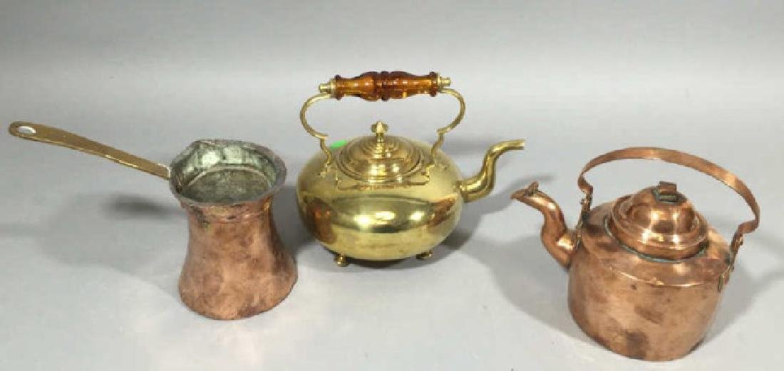 3 Brass & Copper Antique Table or Kitchen Items