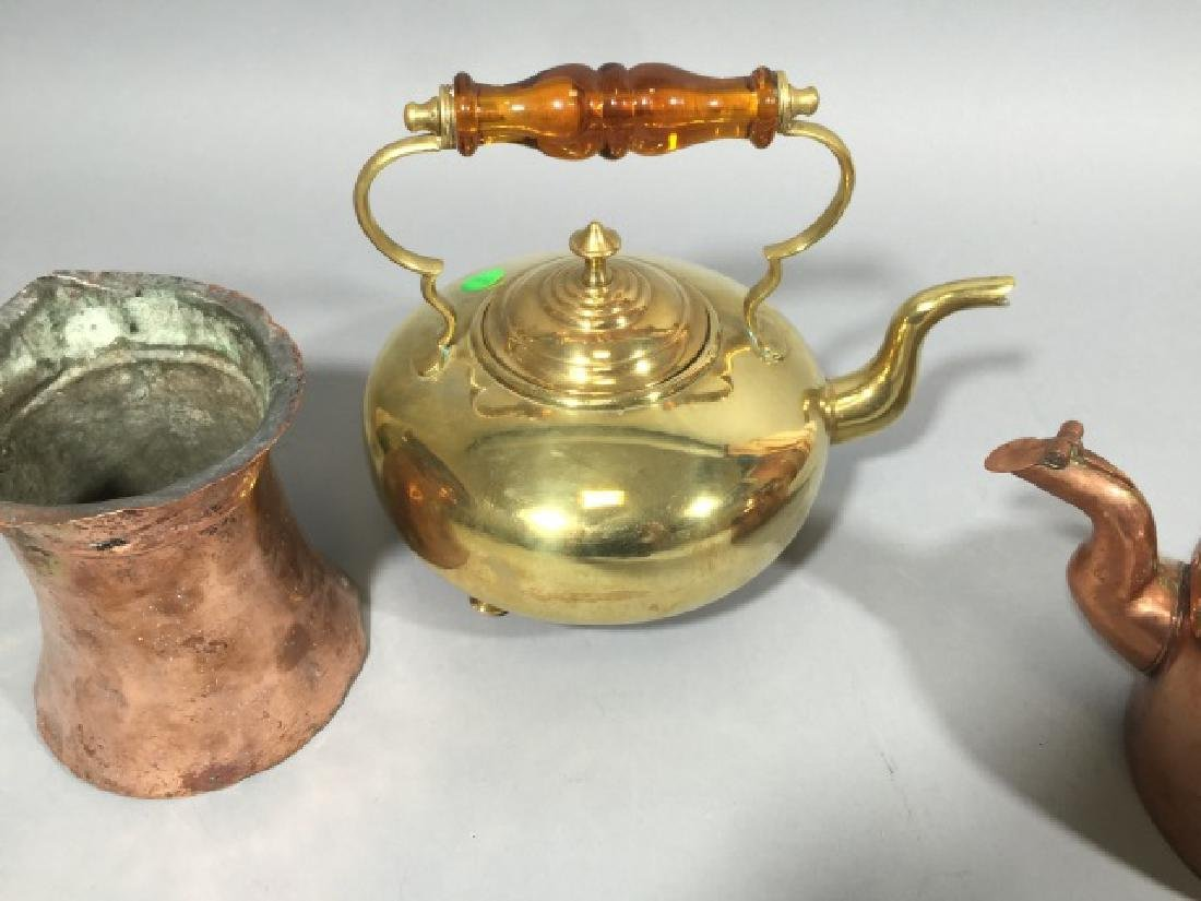 3 Brass & Copper Antique Table or Kitchen Items - 4