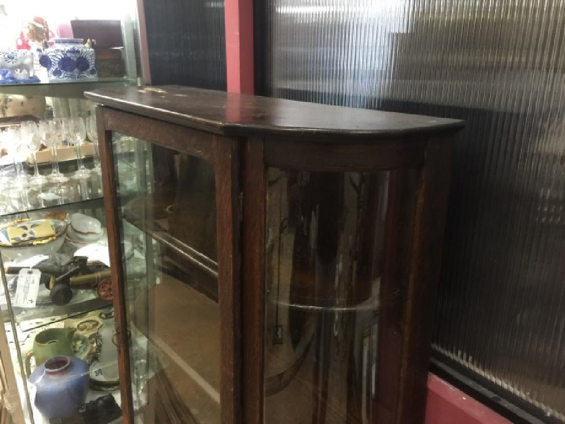 Antique Oak & Glass Curio Cabinet w 4 Shelves - 3
