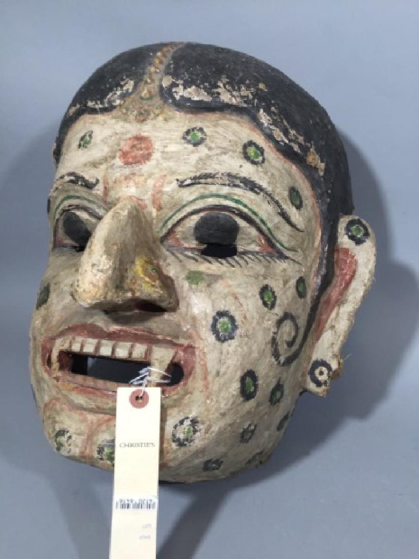 Large Antique Polychrome Thai Mask Wood & Canvas