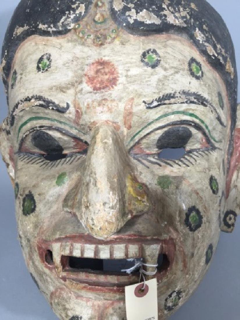 Large Antique Polychrome Thai Mask Wood & Canvas - 2