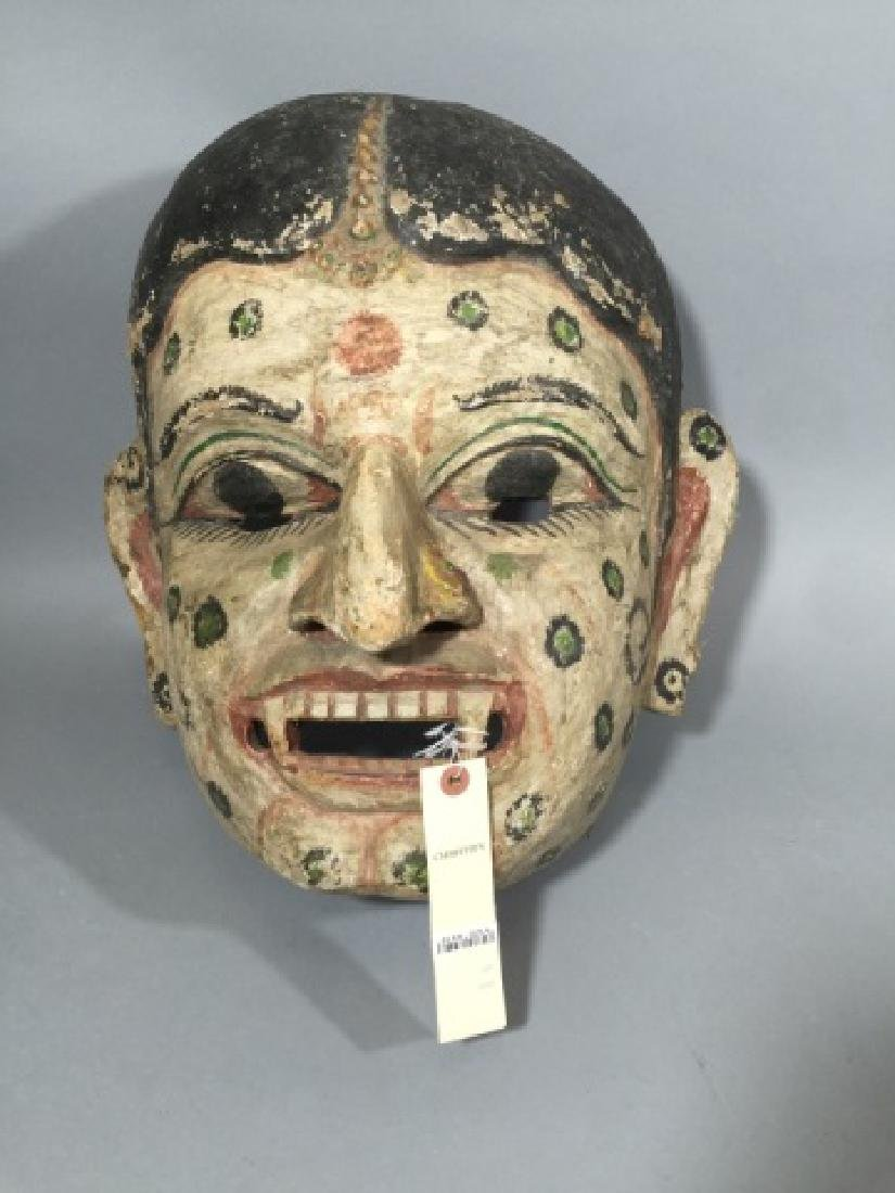 Large Antique Polychrome Thai Mask Wood & Canvas - 4