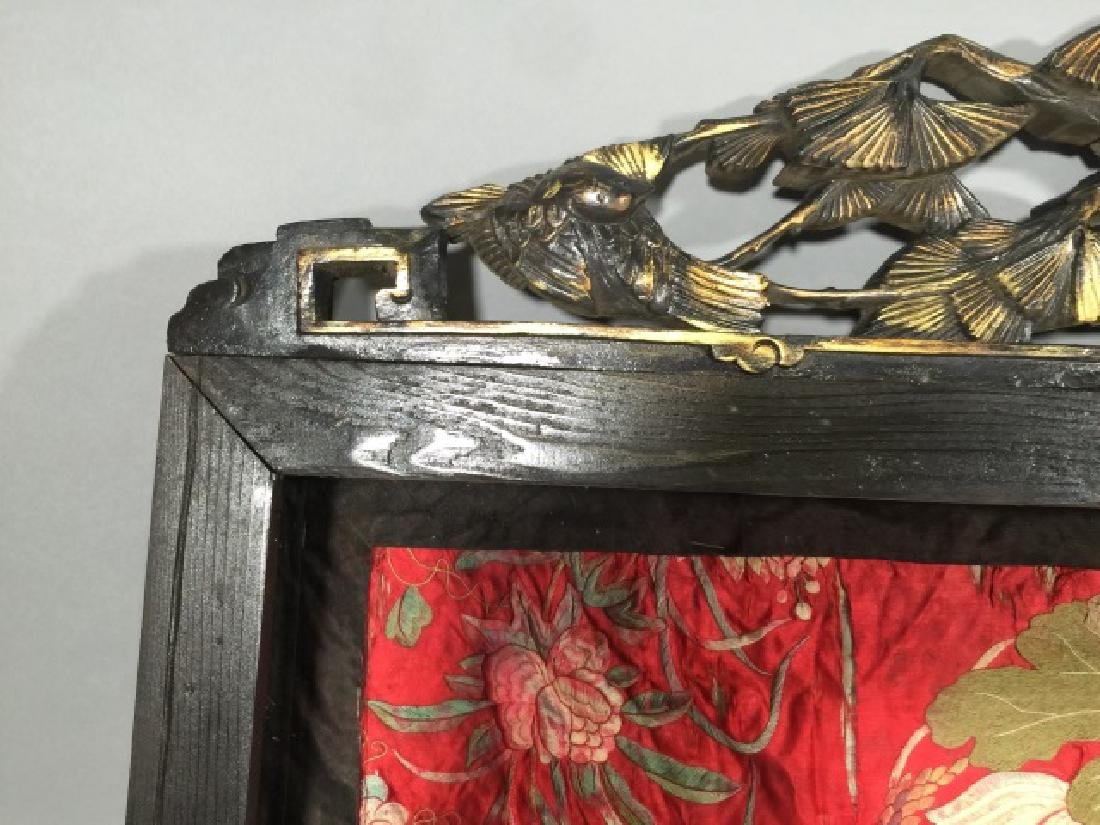 Hand Carved Chinese Display Case w Silk Fragment - 2