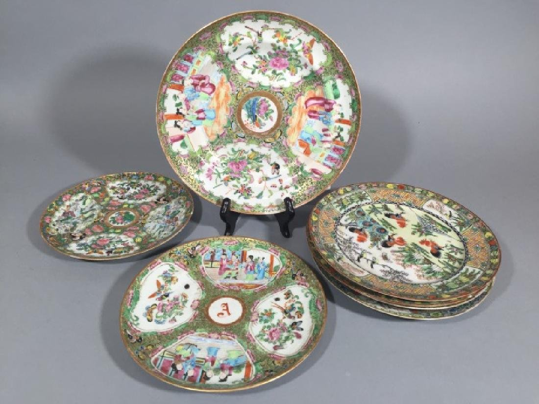 7 Antique Rose Medallion Chinese Porcelain Plates