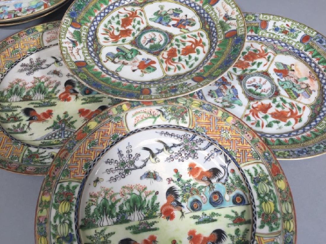 7 Antique Rose Medallion Chinese Porcelain Plates - 2