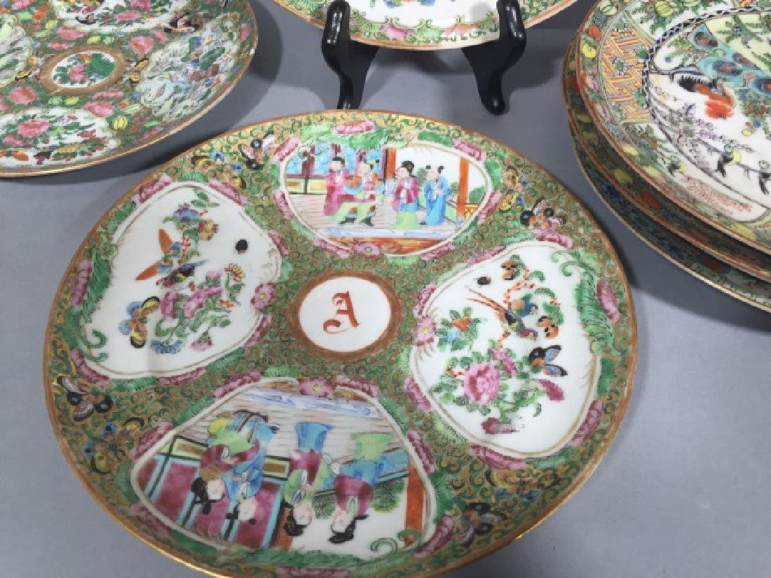 7 Antique Rose Medallion Chinese Porcelain Plates - 5