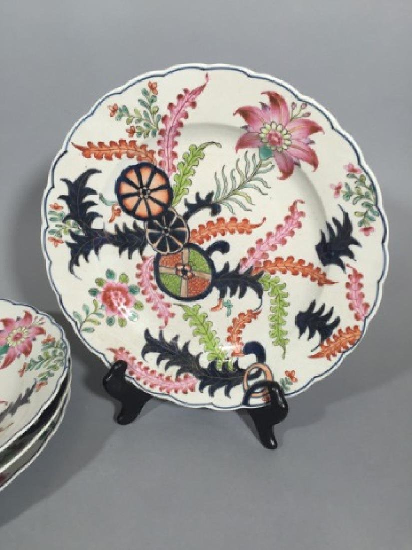 4 Matching Hand-Painted Chinese Plates w Seaweed - 3