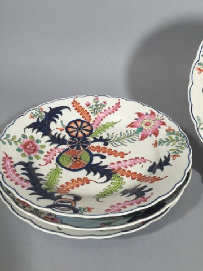 4 Matching Hand-Painted Chinese Plates w Seaweed - 4