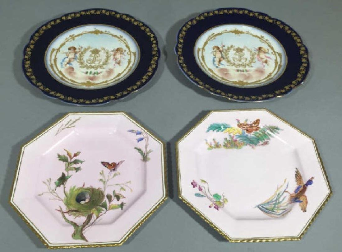 4 Continental Hand-Painted Porcelain Plates Sevres