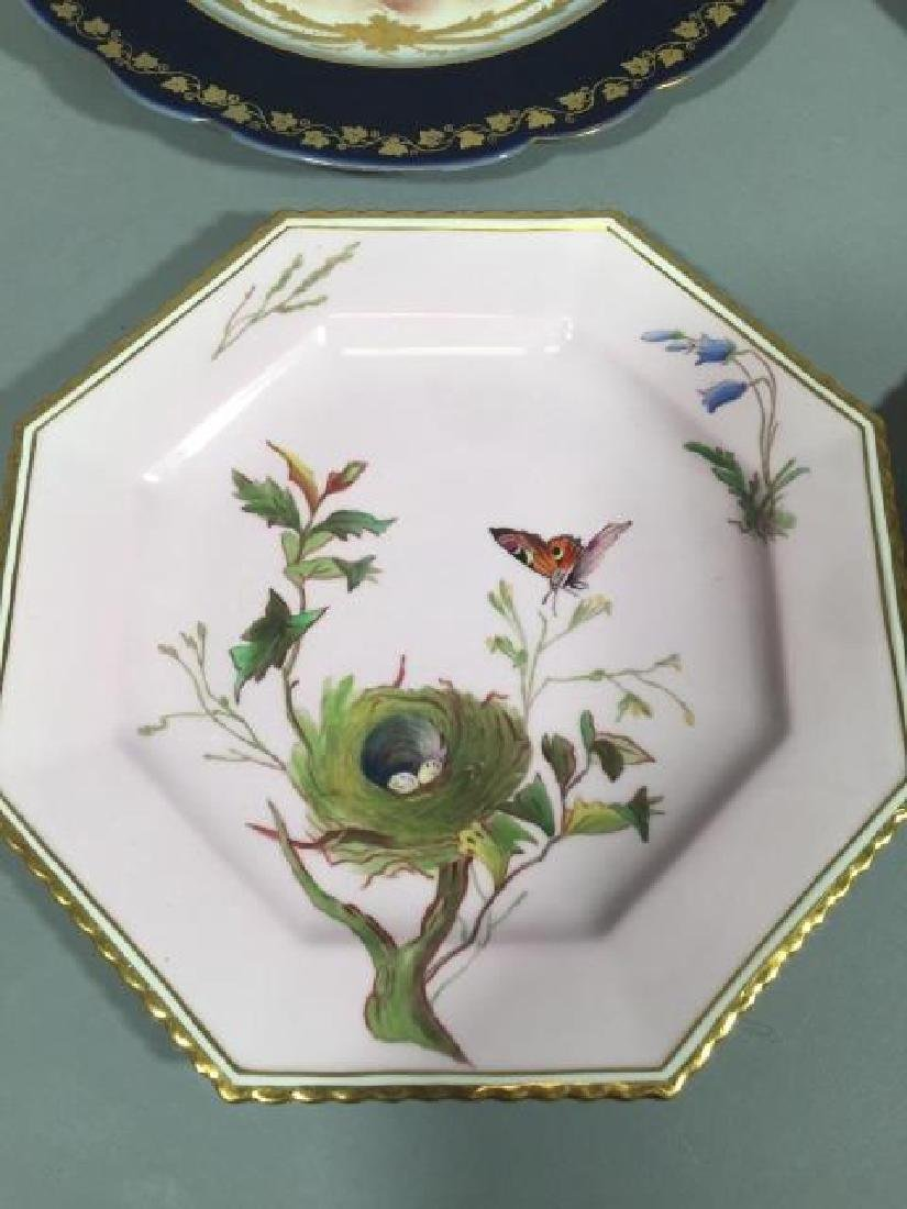 4 Continental Hand-Painted Porcelain Plates Sevres - 3