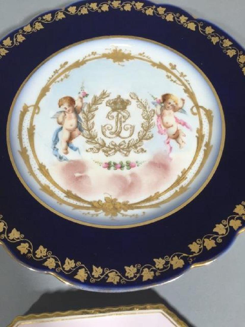 4 Continental Hand-Painted Porcelain Plates Sevres - 5
