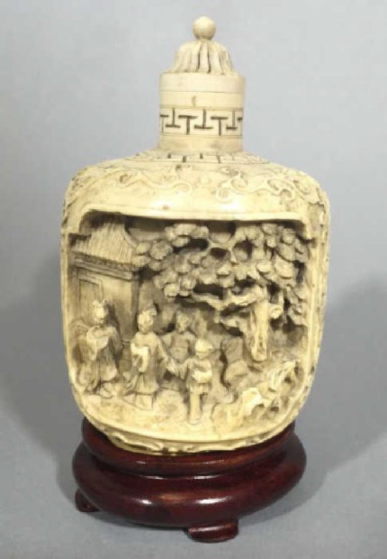Chinese Carved Bottle with Top on Wood Stand