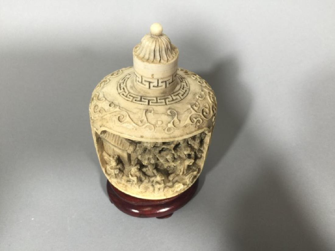 Chinese Carved Bottle with Top on Wood Stand - 2