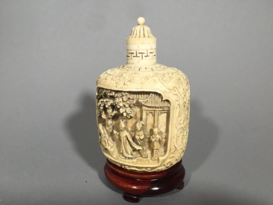 Chinese Carved Bottle with Top on Wood Stand - 4