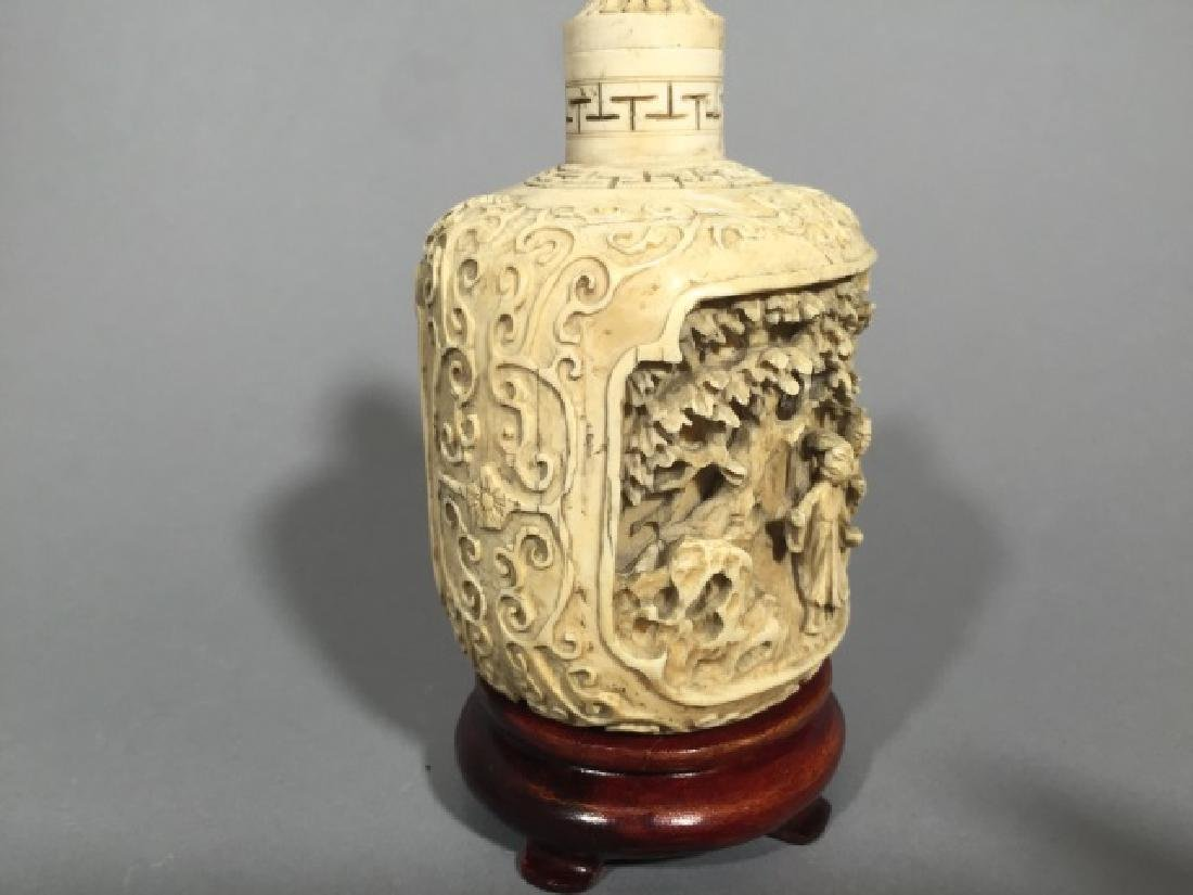 Chinese Carved Bottle with Top on Wood Stand - 5