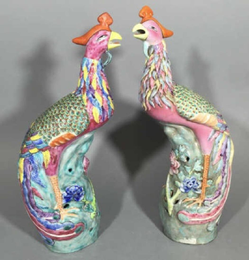 Pair Stylized Colorful Chinese Ceramic Pheasants