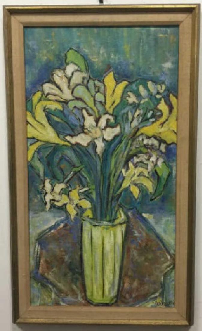 Mid Century Modern Oil on Canvas Vase of Flowers