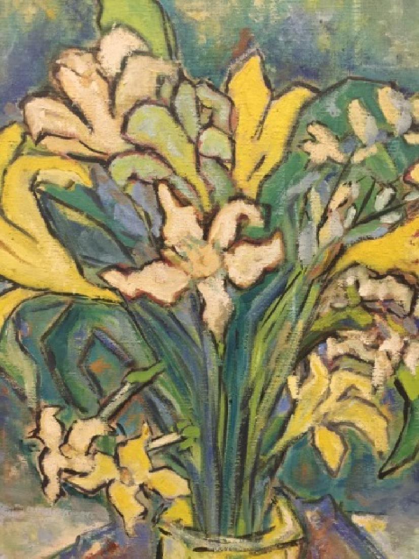Mid Century Modern Oil on Canvas Vase of Flowers - 2