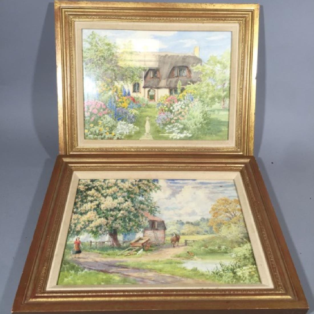 Pair 1920's Watercolors of English Thatch Cottage