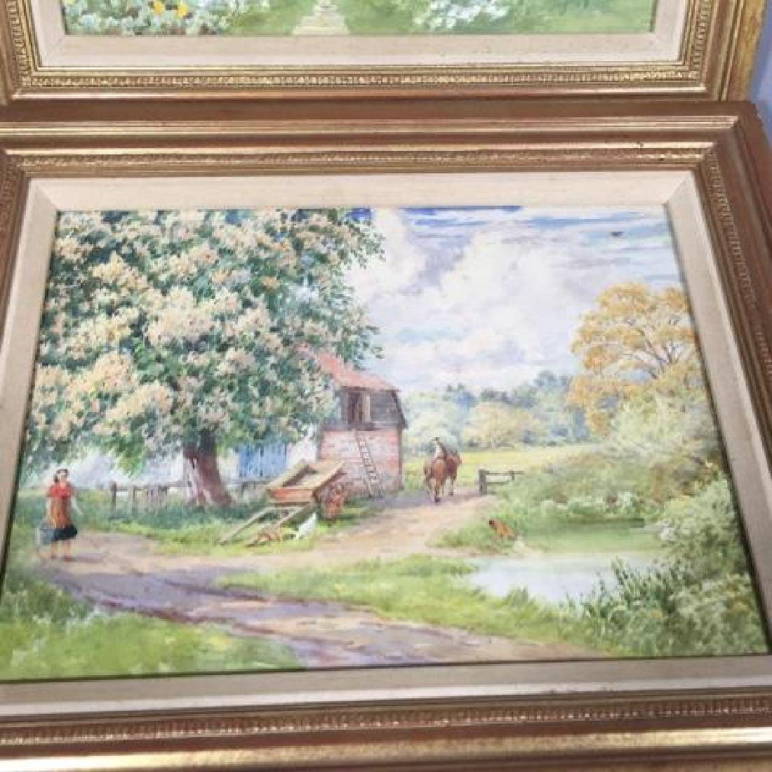 Pair 1920's Watercolors of English Thatch Cottage - 2