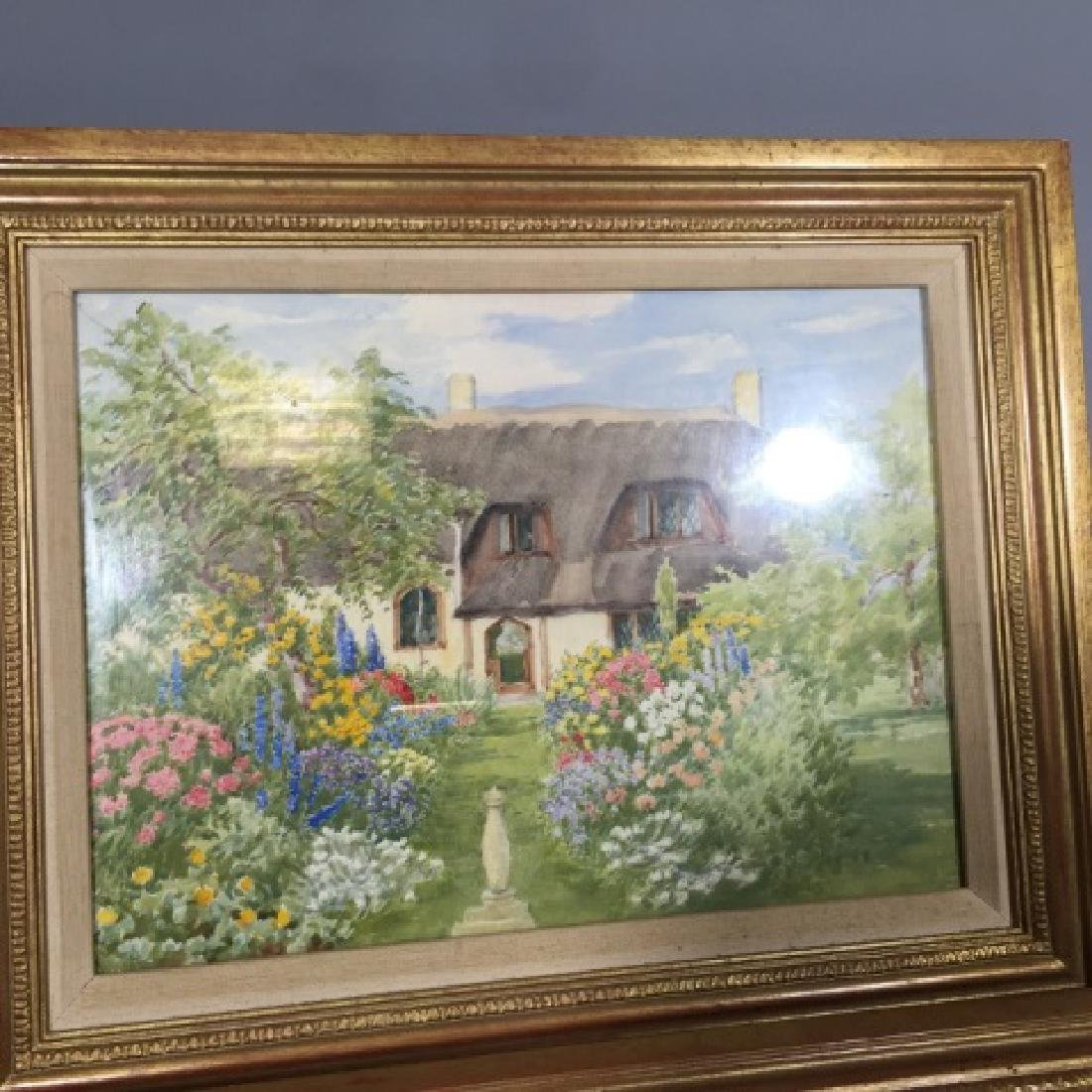 Pair 1920's Watercolors of English Thatch Cottage - 3