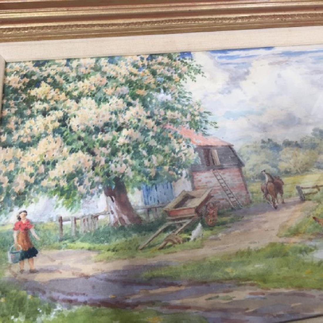 Pair 1920's Watercolors of English Thatch Cottage - 4