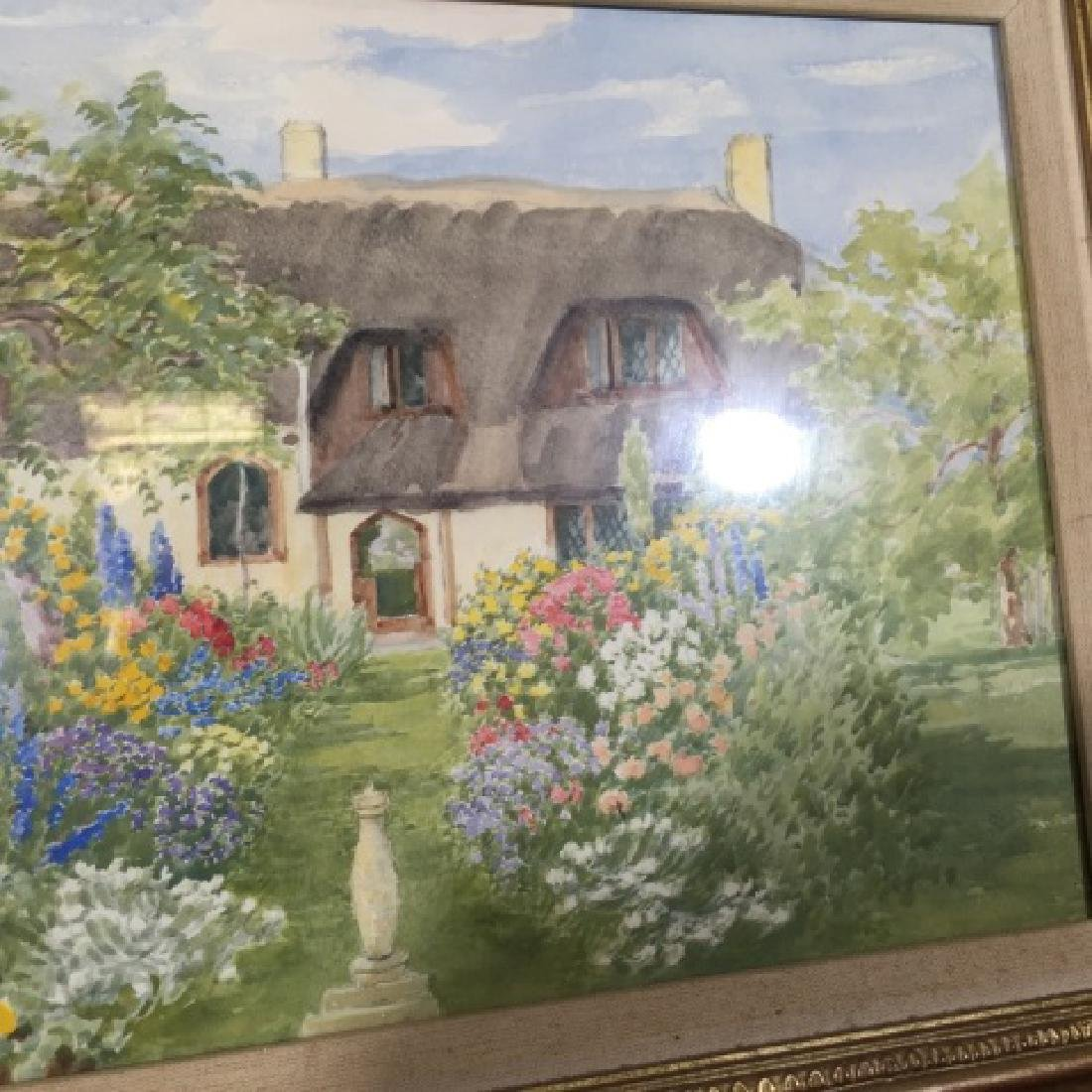 Pair 1920's Watercolors of English Thatch Cottage - 5